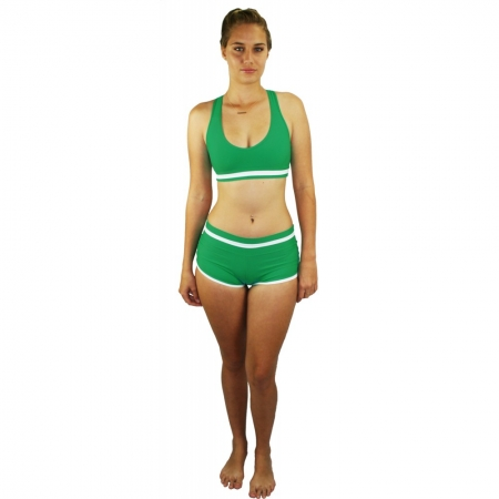 Juicee Peach Aussie Fun Retro Scrunch Side Shorts & Crop Top Set