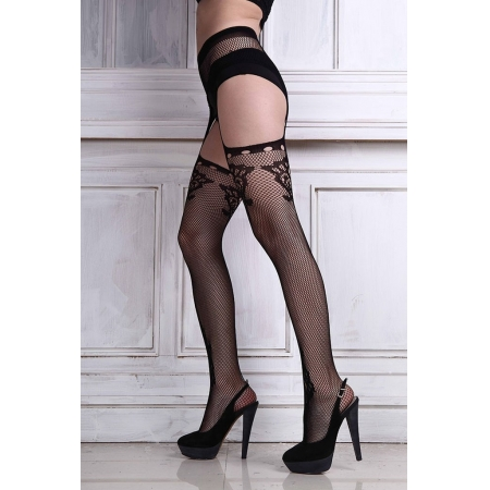 Lunalae Polewear Black Fishnet Stockings with Rhinestones