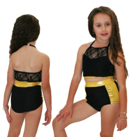 Juicee Peach Junior Lacey Shimmer Set-Gold/Black
