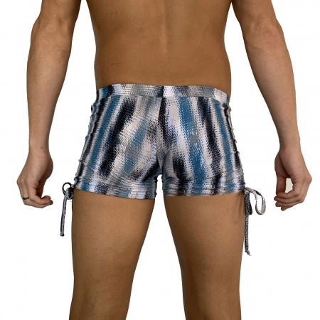 Juicee Peach Mens Snake Print Tie Side Shorts