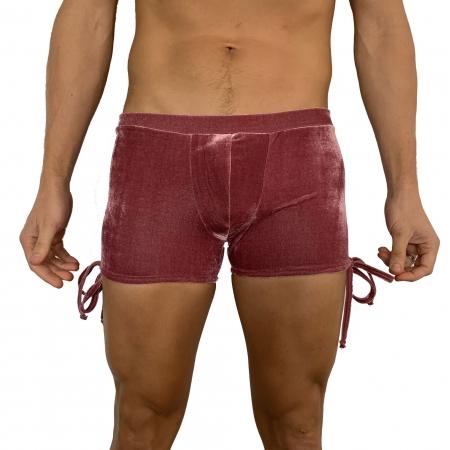 Juicee Peach Mens Rose Velvet Tie Side Shorts