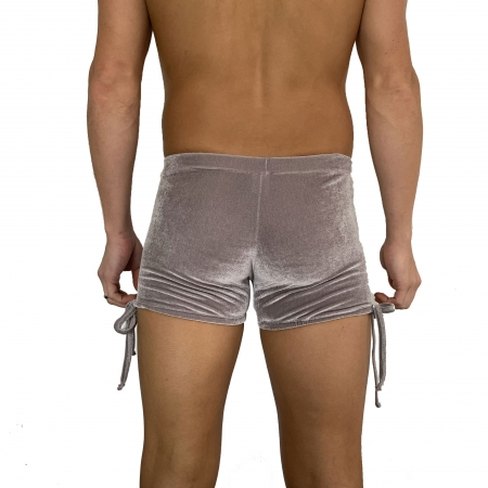 Juicee Peach Mens Grey Velvet Tie Side Shorts
