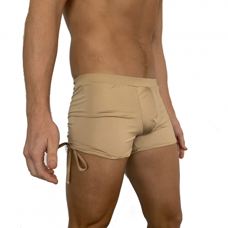 Juicee Peach Mens Nude Gold Tie Side Shorts