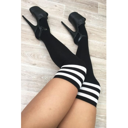 Lunalae Black Thigh High Socks With White Stripe