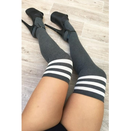 Lunalae Charcoal Thigh High Socks With White Stripe