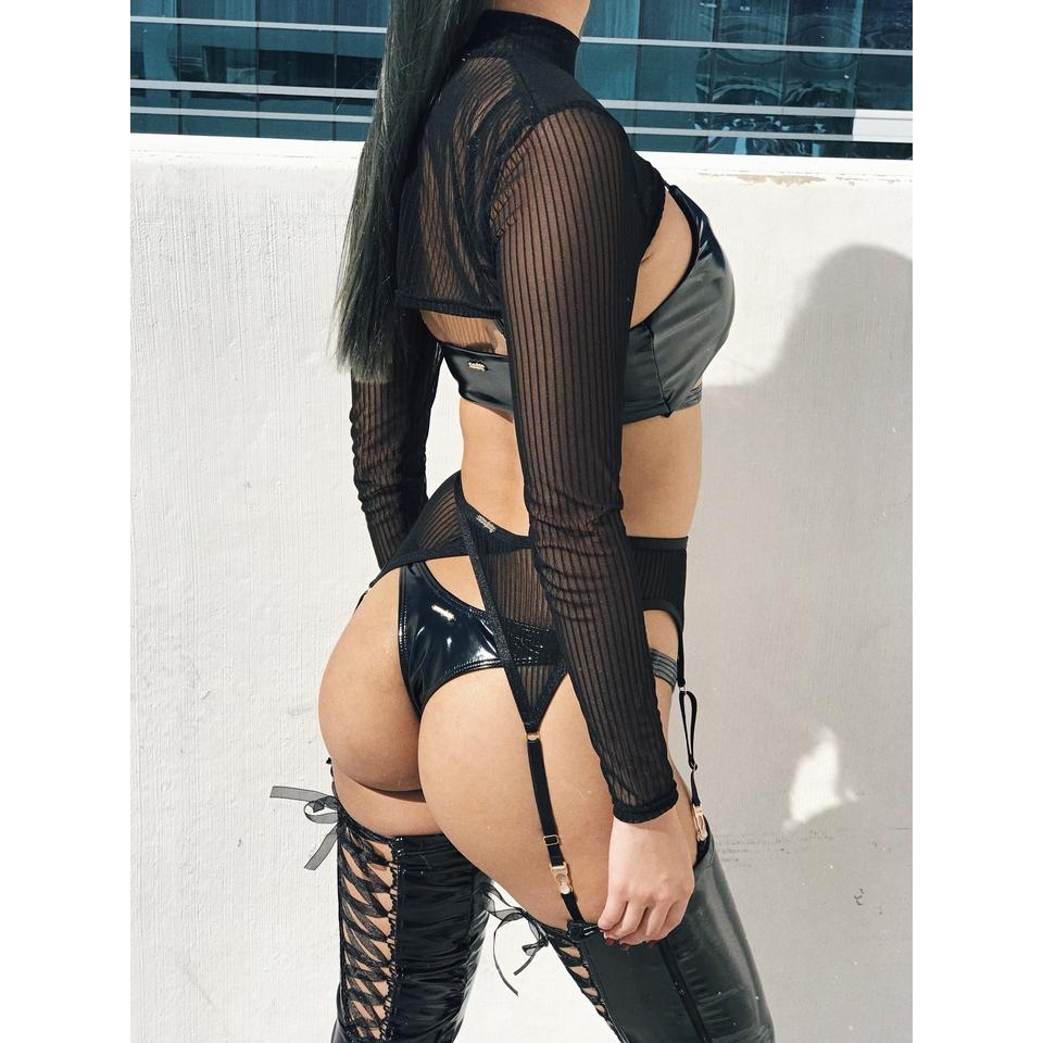 Naughty Thoughts XXX Rated See Through Shrug - BLACK
