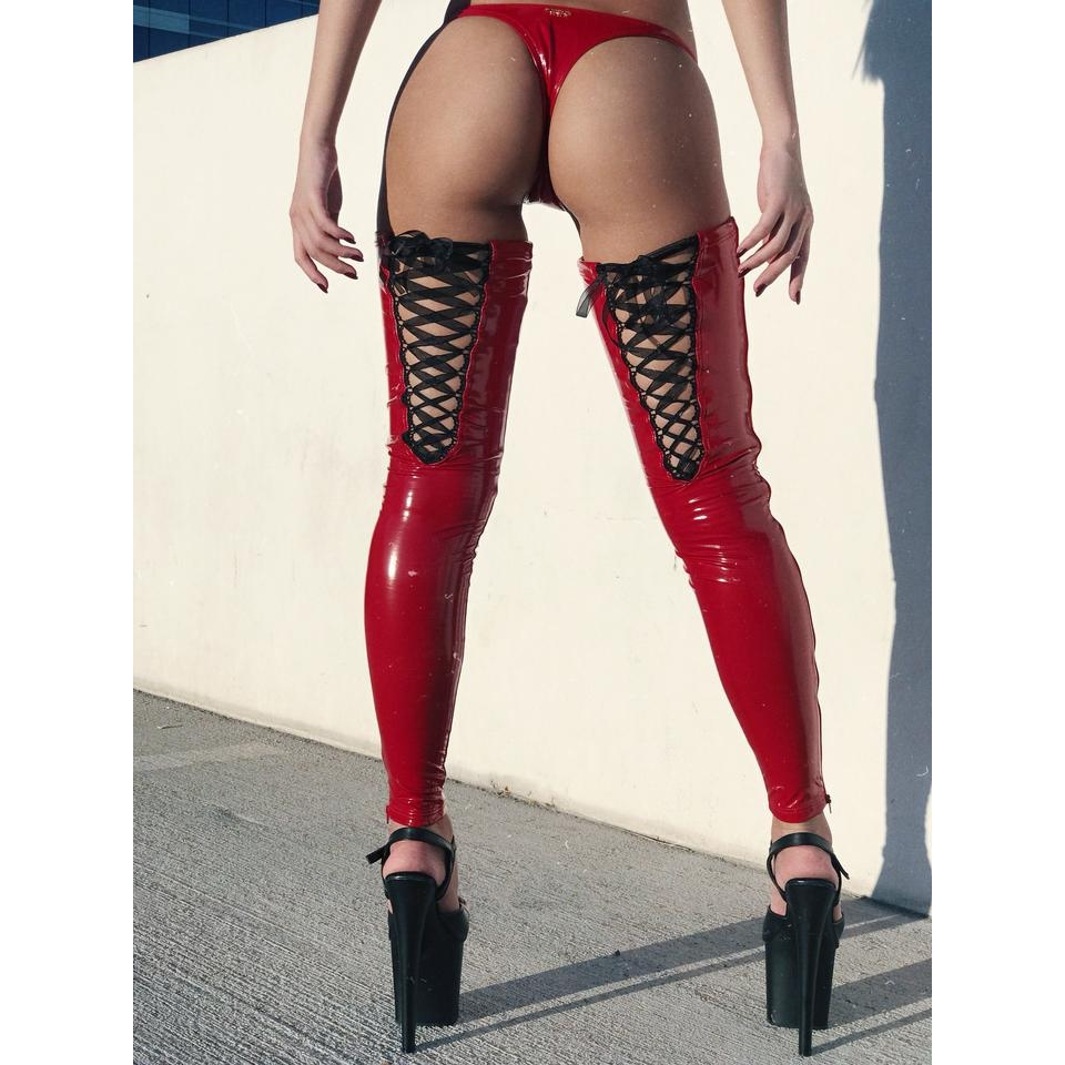 Naughty Thoughts Sinner Vinyl Lace-up Thigh High - RED