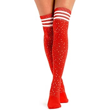 Rhinestone Socks – Red