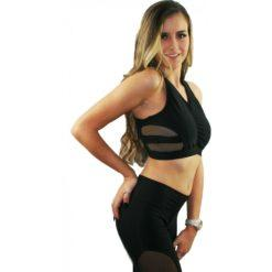 Juicee Peach Black and Mesh Cut Out Dance Crop Top