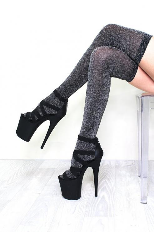 Lunalae Polewear Silver Lurex Thigh High Socks