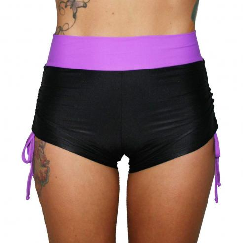 Juicee Peach Layla High Waist Duo Shorts Black/Purple