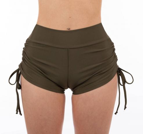 Juicee Peach Layla High Waist Shorts-Khaki