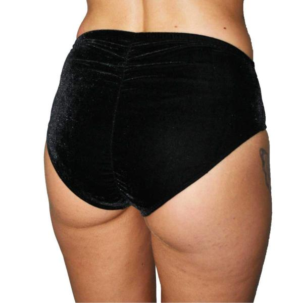 Juicee Peach Vixen Velvet High Waist Bottoms - Black