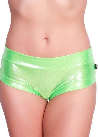Cleo The Hurricane Metallic Hot Pants In Lime Shine