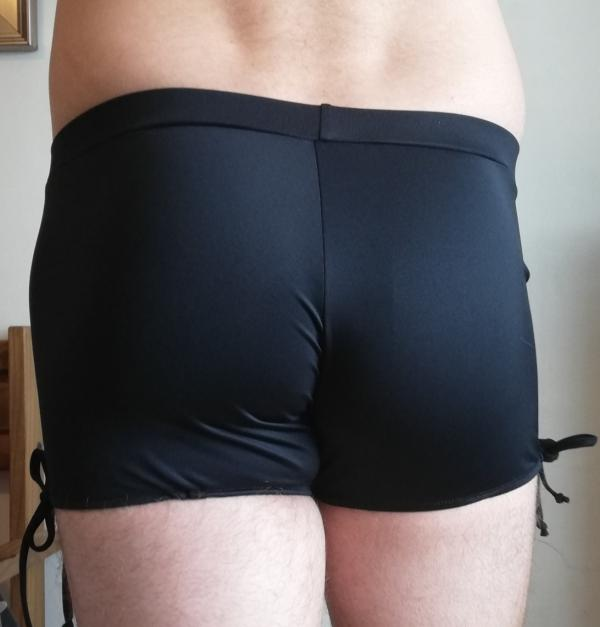 Juicee Peach Mens Black Tie Side Shorts