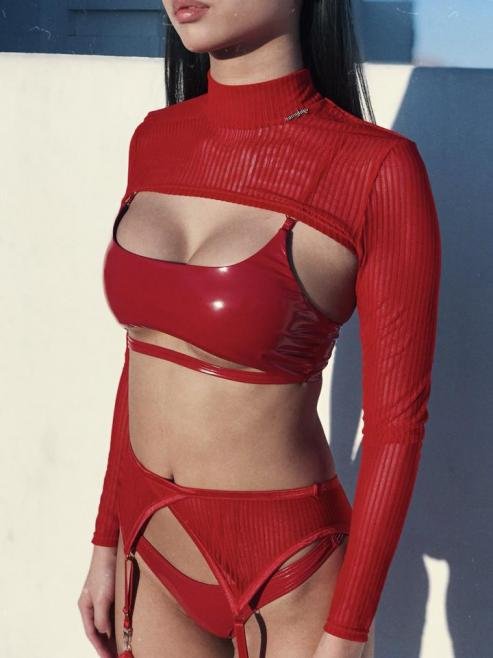 Naughty Thoughts XXX Rated See Through Garter Belt - RED
