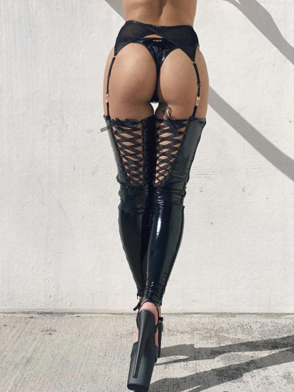 Naughty Thoughts Sinner Vinyl Lace-up Thigh High - BLACK