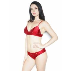 Gale Virgo Top with Rhinestone Red